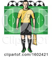 Soccer Referee Over A Pitch With Balls