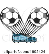 Clipart Of A Soccer Cleat With Balls Royalty Free Vector Illustration