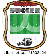 Clipart Of A Soccer Field Whistle And Cleats In A Shield Royalty Free Vector Illustration