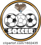 Circle Frame With Soccer Balls And Gloves