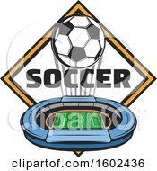 Clipart Of A Soccer Ball And Stadium Over A Diamond Royalty Free Vector Illustration