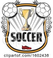 Clipart Of A Trophy Cup And Soccer Balls In A Shield Royalty Free Vector Illustration