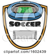 Soccer Stadium And Net In A Shield