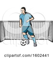 Soccer Player And Net