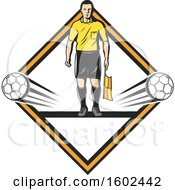 Soccer Referee And Balls In A Diamond