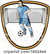 Soccer Player And Net In A Shield