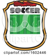 Clipart Of A Soccer Field And Cleats In A Shield Royalty Free Vector Illustration