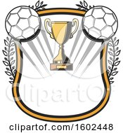 Trophy Cup And Soccer Balls In A Shield