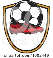Clipart Of A Soccer Ball And Cleats In A Shield Royalty Free Vector Illustration