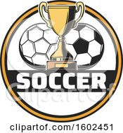 Trophy Cup And Soccer Balls In A Circle