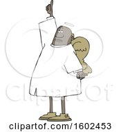Cartoon Black Male Angel Pointing Up