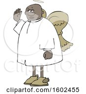 Cartoon Black Male Angel Holding Up A Hand To Swear