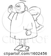 Cartoon Lineart Black Male Angel Holding Up A Hand To Swear
