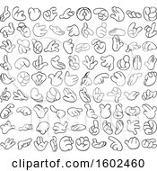 Clipart Of Cartoon Lineart Hands Royalty Free Vector Illustration