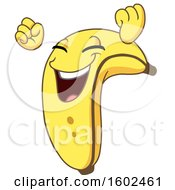 Clipart Of A Cartoon Victorious Banana Character Mascot Royalty Free Vector Illustration