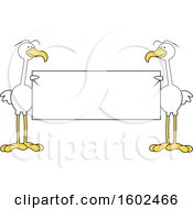 Clipart Of Cartoon White Birds Holding A Blank Sign Royalty Free Vector Illustration