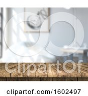 Clipart Of A 3d Wood Counter And Blurred Living Room Interior Royalty Free Illustration