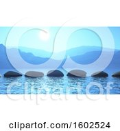 Clipart Of A Line Of 3d Stepping Stones On The Ocean Royalty Free Illustration