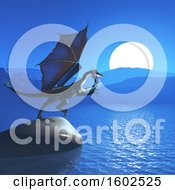 Clipart Of A 3d Dragon On A Rock Over The Ocean Royalty Free Illustration by KJ Pargeter