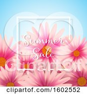 Clipart Of A Summer Sale Text Design With Pink Daisy Flowers Royalty Free Vector Illustration