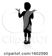 Clipart Of A Silhouetted Child Shrugging With A Shadow On A White Background Royalty Free Vector Illustration