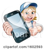 Poster, Art Print Of White Female Worker Holding A Cell Phone Over A Sign