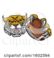 Clipart Of A Tough Bobcat Lynx Monster Mascot Holding Out An American Football In One Clawed Paw Royalty Free Vector Illustration