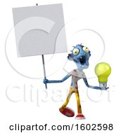 Poster, Art Print Of 3d Blue Zombie Holding A Light Bulb On A White Background