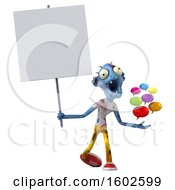 3d Blue Zombie Holding Messages On A White Background