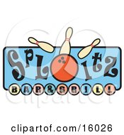 Bowling Pins Being Knocked Over By A Ball On A Splitz Bar And Grill Sign