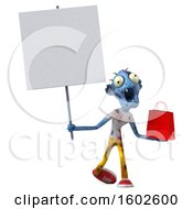 Clipart Of A 3d Blue Zombie Holding A Shopping Bag On A White Background Royalty Free Illustration by Julos