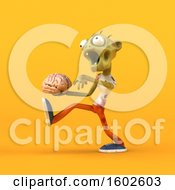 Clipart Of A 3d Zombie Holding A Brain On A Yellow Background Royalty Free Illustration by Julos