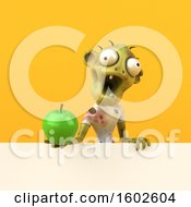 Clipart Of A 3d Zombie Holding An Apple On A Yellow Background Royalty Free Illustration by Julos