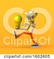 Poster, Art Print Of 3d Zombie Holding A Light Bulb On A Yellow Background