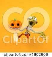 Clipart Of A 3d Zombie Holding A Jackolantern On A Yellow Background Royalty Free Illustration by Julos