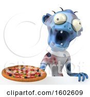 Clipart Of A 3d Blue Zombie Holding A Pizza On A White Background Royalty Free Illustration