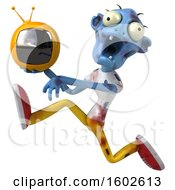 Poster, Art Print Of 3d Blue Zombie Holding A Tv On A White Background