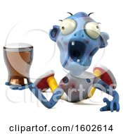 Poster, Art Print Of 3d Blue Zombie Holding A Beer On A White Background