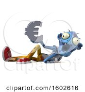 Clipart Of A 3d Blue Zombie Holding A Euro On A White Background Royalty Free Illustration by Julos