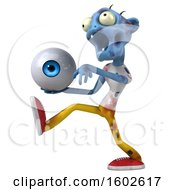 Poster, Art Print Of 3d Blue Zombie Holding An Eyeball On A White Background