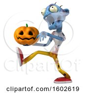 Poster, Art Print Of 3d Blue Zombie Holding A Jackolantern On A White Background