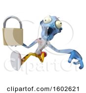 Poster, Art Print Of 3d Blue Zombie Holding A Padlock On A White Background