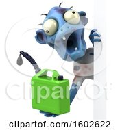Poster, Art Print Of 3d Blue Zombie Holding A Gas Can On A White Background