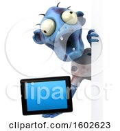 Poster, Art Print Of 3d Blue Zombie Holding A Tablet On A White Background