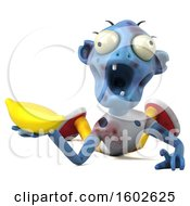 Clipart Of A 3d Blue Zombie Holding A Banana On A White Background Royalty Free Illustration by Julos