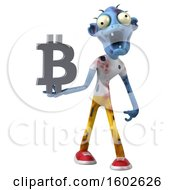 Poster, Art Print Of 3d Blue Zombie Holding A Bitcoin Symbol On A White Background