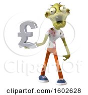 Clipart Of A 3d Green Zombie Holding A Lira On A White Background Royalty Free Illustration by Julos