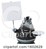 3d Business Zebra Holding A Plate On A White Background