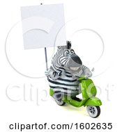 3d Zebra Riding A Scooter On A White Background
