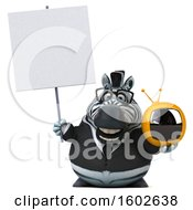 3d Business Zebra Holding A Tv On A White Background